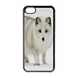 [White Fox Series] IPhone 5C Case Arctic Fox, Cell Phone Case For Iphone 5c Kweet - Black