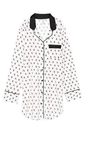 (Victoria's Secret The Flannel Sleepshirt, White/Logo,)