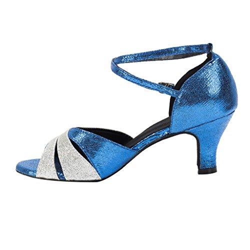 BCLN Womens Open toe Sandals Latin Salsa Tango Heels Practice Ballroom Dance Shoes with 2.2 Heel Kvwo13U