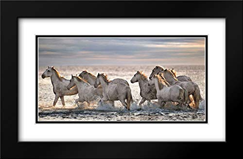 Running Horses 40x21 Black Modern Frame and Double Matted Art Print by Ortega, Xavier