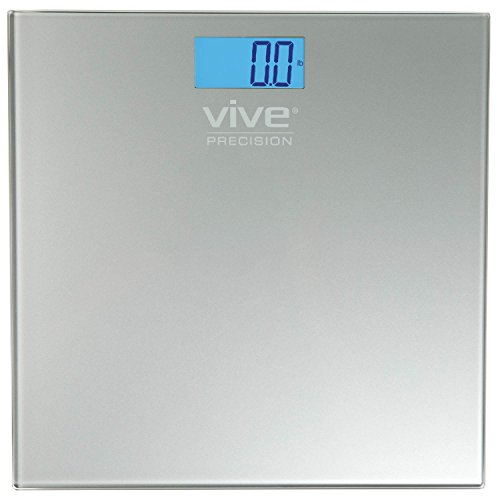 Vive Precision Electronic Scale - Bathroom Heavy Weight Measuring Device - Digital Home Body Bath Scale, Easy to Read, Backlit Display - Accurate Dietary Weighing (Silver)