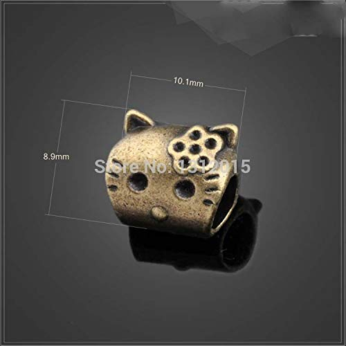 Calvas Wholesale cat Alloy/&Metal Antique Gold Spacer Beads Fit European Bracelet 10.1x8.9mm,30Pcs,YZ-13698