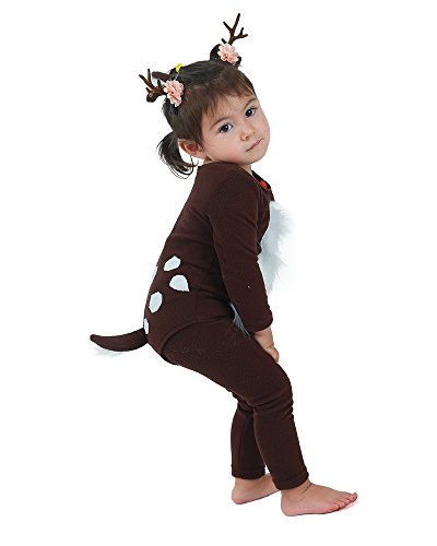 Cosplay.fm Kids Deer Cosplay Costume with Horns Tail for Halloween (Brown) -