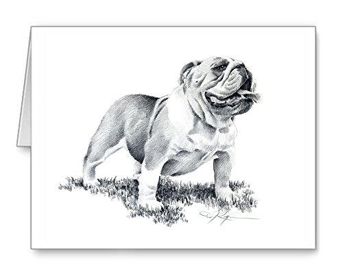 Bulldog - Set of 10 Dog Note Cards With Envelopes