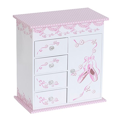 Mele & Co. Cristiana Girl's Musical Ballerina Jewelry Box (Ballet Slipper and Ribbon (Ballerina White Trinket Box)