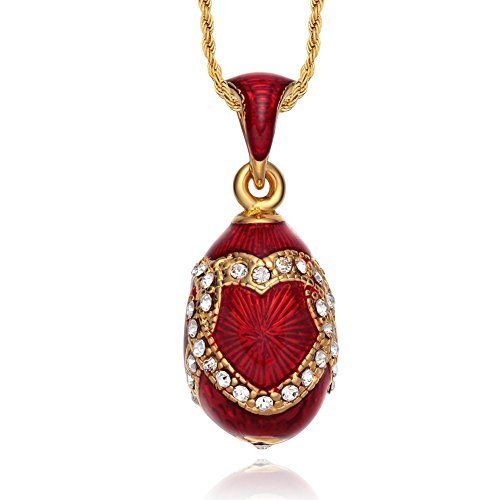 TF Charms Russian Enamel Egg Pendant Necklace 18 Inches (Heart) (Egg Faberge Enamel Style Pendant)