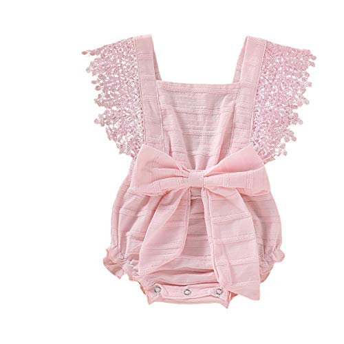 - Newborn Baby Ruffle Romper Lace Sleeveless Bodysuits Bowknot Tassels Jumpsuit Sunsuits Summer Outfits (12-18 Months, Pink lace Romper)