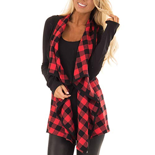 (Women's Coat, Womens Vest Plaid Sleeveless Lapel Open Front Cardigan Sherpa Jacket Pockets 2018 New (RED-B, XL) )