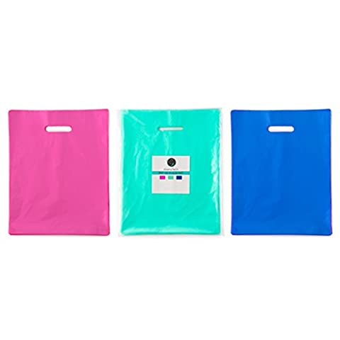 150 12x15 Teal, Royal Blue, Pink Premium LDPE Plastic Merchandise Bags, Best for Retail Shopping, Lularoe T-shirt Grocery Birthday Gift, Party Favors, Extra 2 mil thick, (Cartera De Compras)