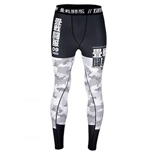 TATAMI Fightwear Essential Camo Spats White Green - Compression Pants for Men - Fitness Training BJJ MMA Gym (White, s)