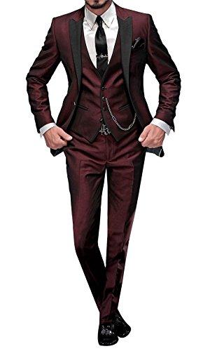 GEORGE BRIDE 002 – Traje de 5 Piezas para Hombre, Chaqueta de Traje, Chaleco, pantalón de Traje, Corbata, con Bolsillos