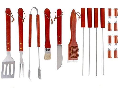 Estilo 18 piece stainless steel barbecue grill tool set for Pretty garden tools set