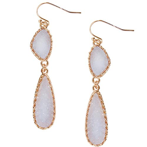 Humble Chic Simulated Druzy Drop Dangles - Gold-Tone Long Double Teardrop Dangly Earrings for Women, Pale Lavender, Simulated Amethyst, Simulated Tanzanite, Purple, - Teardrop Plated Chandelier