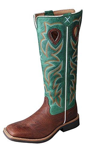 Twisted X Boys' Turquoise Buckaroo Cowboy Boot Square Toe Cognac 3.5 D(M) - Buckaroo Boots Western