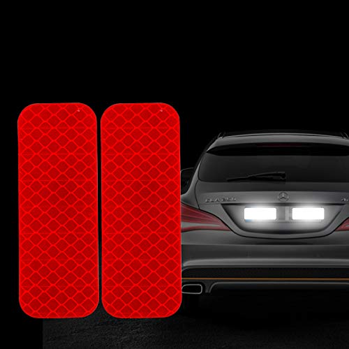 Bumper Reflective - FOLCONROAD 10Pcs Car Reflective Warning Strip Stickers Safety Warning Light Reflector Protective Sticker [RED-Rectangle]