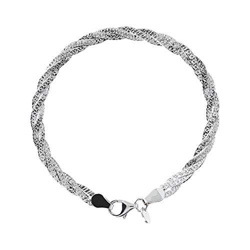 950 Milano Women's Sterling Silver 950 Twisted Herringbone Bracelet -