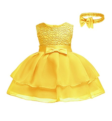 HX Baby Girls Princess Sleeveless Lace Bowknot First Birthday Christening Baptism Special Occasion Dresses with Headband (Yellow, 3M/0-3 Months) ()