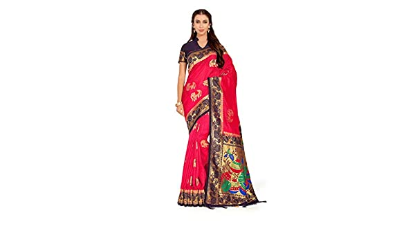 49060ce0ab717f Amazon.com  Mimosa Art Kuppdam Wedding Silk Saree Kanjivarm Style with Contrast  Blouse Color  Red (4261-RPL-1-2D-STRW-NVY)  Clothing
