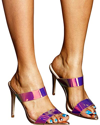 Anne Michelle Women's Claire Double Band Heel Sandals,Multi,8