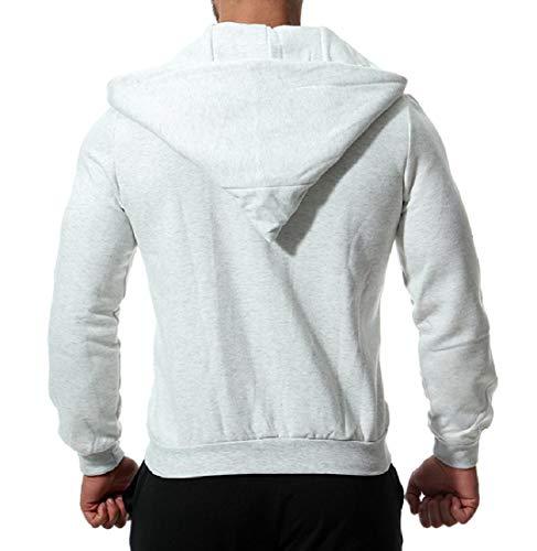 Zips with Colored Coat Light Grey Hood Casual with Fleece Jacket XINHEO Solid Mens OqEwBCn81