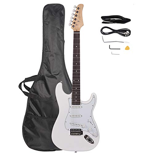 "Z ZTDM Full Size 39"" Rosewood Fingerboard Electric Guitar with Gigbag Strap Amp Wire Tremolo Arm Cord for Adult Student Beginner White"