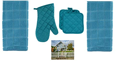 Home Collection Teal Kitchen Dish Towel Set - 1 Quilted Teal Oven Mitt, 2 Pot Holders, and 2 Microfiber Kitchen Dish Towels, Turquoise, 5 Piece ()