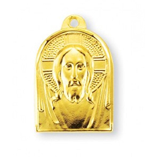 Christ Gold Overlay Sterling Silver Medal with 18