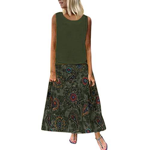 Women's Summer Casual, Tronet Women Plus Size Bohemian O-Neck Floral Print Vintage Sleeveless Long Maxi Dress