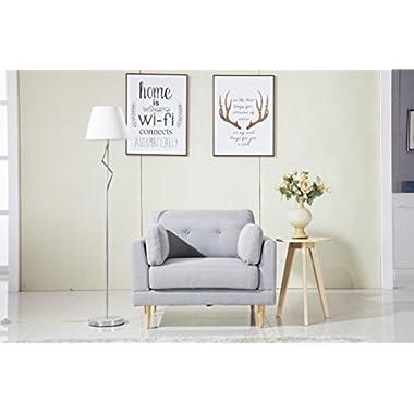 Mid Century Modern Ultra Plush Linen Fabric Chair, Color Dark Grey and Light Grey (Light Grey)