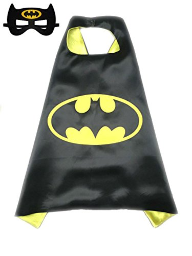 [Superhero or Princess Kids CAPE & MASK SET Childrens Halloween Costume (Black & Yellow (Batman))] (9 To 5 Costumes)