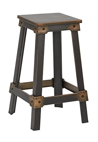 "OSP Designs New Castle 26"" Antique Copper Metal Barstool, KD, Antique Copper Kd"