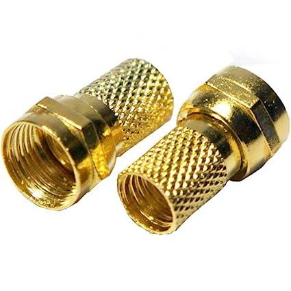50 x calidad oro 6,4 mm RG6 Coaxial Conector F – Tornillo/Twist