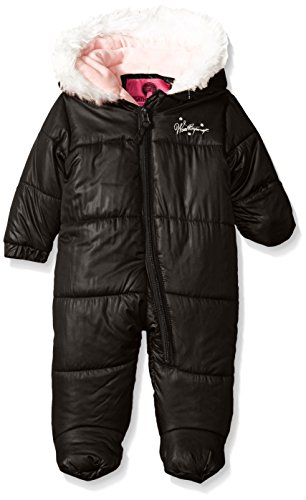 Weatherproof Baby Girls' Bubble Jacket with Printed Dewspo Shell, Black, 12 Months