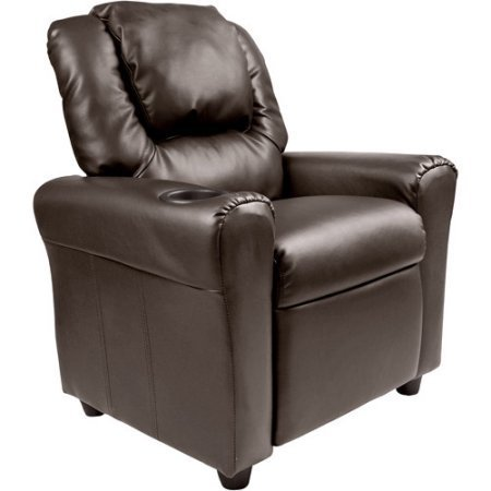 Flash Furniture DGULTKIDBRN Cushioned Seat Kids' Vinyl Recliner with Cupholder and Headrest, Brown