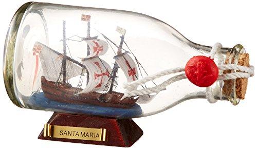 Antique Brass Sailboat - Hampton Nautical  Santa Maria Ship in a Glass Bottle, 5