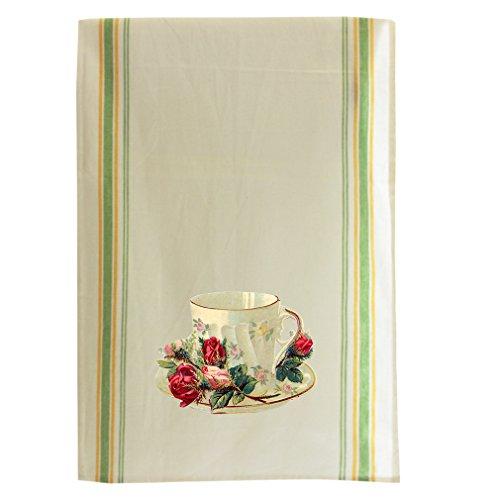 Teacup Roses Vintage Look Cotton Retro Stripe Dish Kitchen Towel Green Stripe
