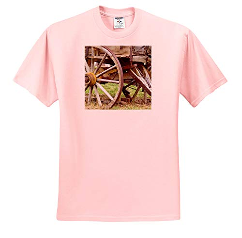 3dRose Jos Fauxtographee- Wagon Wheel - A Wheel on an Old Pioneer Wagon in Wood with Rust - Light Pink Infant Lap-Shoulder Tee (12M) (ts_321172_72) ()