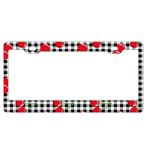 - Fresh Cherries Retro License Plate Frame,Car Tag Frame, Gears License Plate Holder, Cute License Plate Frame