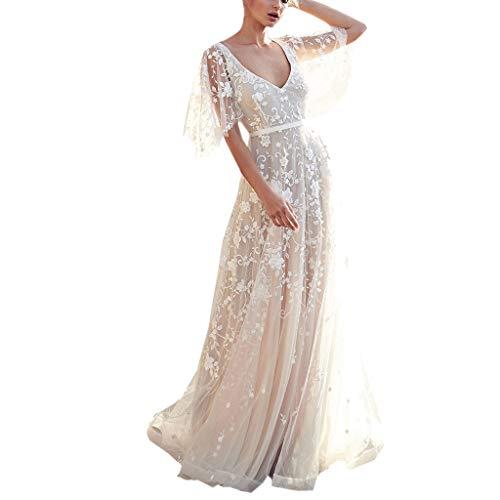 Pandaie-Womens Dresses, Women V-Neck Off Shoulder Lace Formal Evening Party Wedding Dress Long Sleeve Dresses (Short-White, Asian Size: Medium) (Best Pakistani Wedding Dresses 2019)