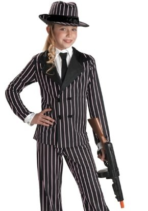 Kids Halloween Costume Pinstripe Gangster Girl Outfit L Girls Large -