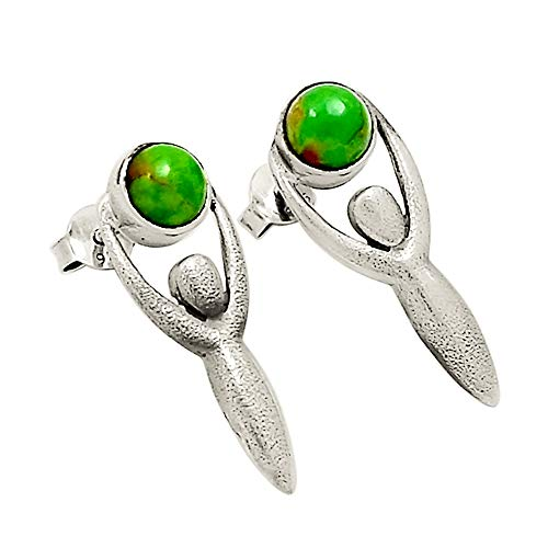 Xtremegems Goddess - Israeli Design - Mohave Green Turquoise 925 Sterling Silver Earrings Jewelry ()