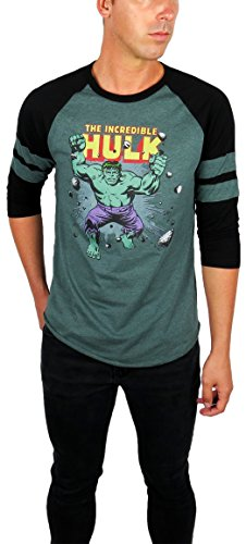 Marvel Mens Hulk Vintage Graphic Varsity Football 3/4 Sleeve Raglan (Teal/Black, ()