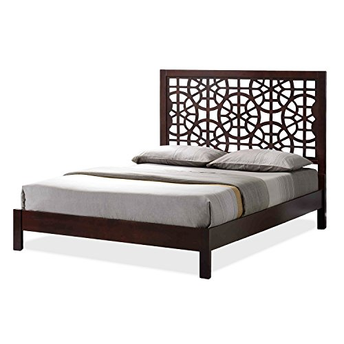 Wholesale Interiors Baxton Studio Sakuro Circle Pattern Wooden Platform Base Bed Frame, King, Dark Brown