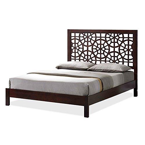 Wholesale Interiors Baxton Studio Sakuro Circle Pattern Wooden Platform Base Bed Frame, Queen, Dark Brown