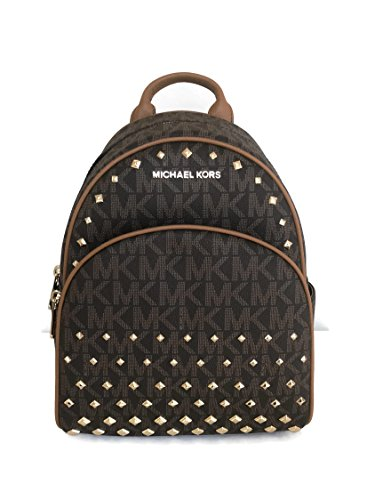 Price comparison product image Michael Kors Abbey Medium Backpack Brown MK Signature Stud School Bag 28000