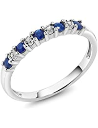 18K Solid White Gold 0.22 cttw Sapphire & White Diamond Anniversary Wedding Band (Available 5,6,7,8,9)