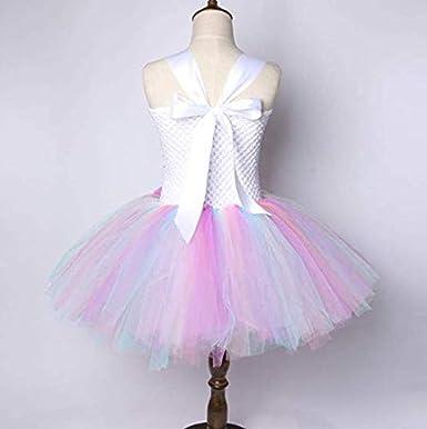 فستان رقص توتو بالوان زاهية مشرقة لحفلات اعياد الميلاد للبنات الصغيرات لعمر بين 7 و8 سنين ومرفق برباط للراس بنمط وحيد القرن.