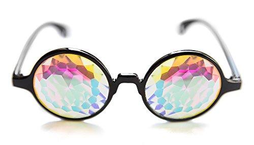 Rave Raptor Black Frame Kaleidoscope Glasses With Lens Prism Diffraction