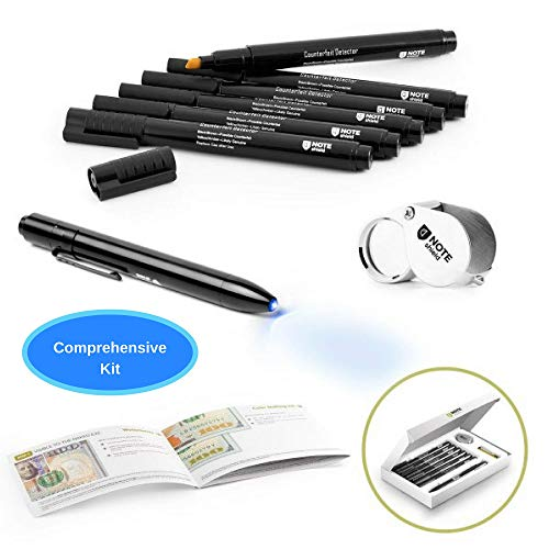 NoteShield Counterfeit Bill Detector Kit - Counterfeit Money Loss Prevention - Small Business Security Dollar Tester Set - 6 x Counterfeit Money Pens, Magnifying Glass, UV Light and Fake Money ()