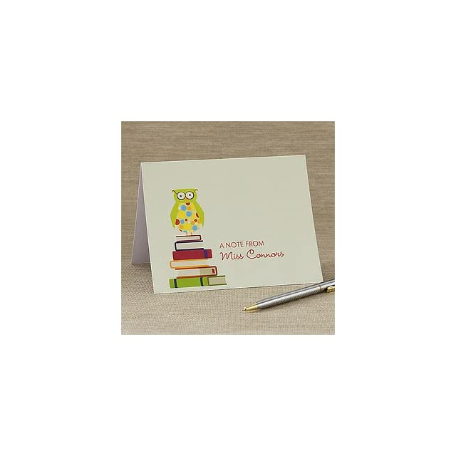 Personalized Teacher Note Cards   Wise Owl